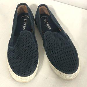 Sperry seaside navy blue slip on loafers